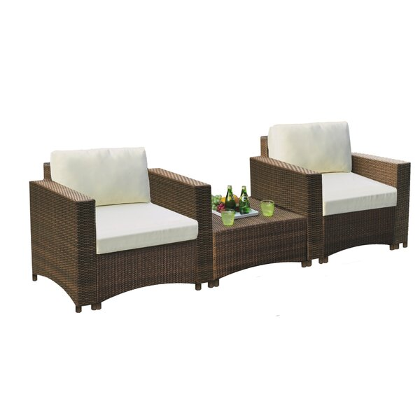 Ouida 3 Piece Seating Group with Cushions by Bay Isle Home