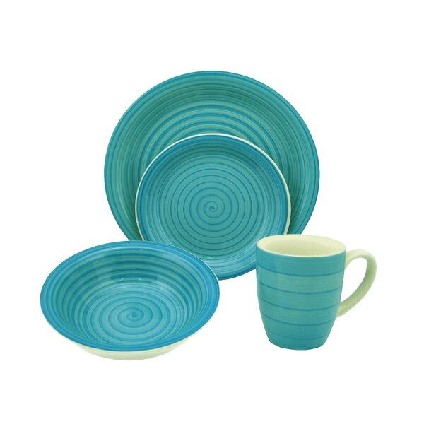 Swirl 16 Piece Dinnerware Set, Service for 4 by Lorren Home Trends