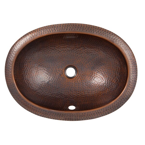 Metal Oval Undermount Bathroom Sink with Overflow by The Copper Factory