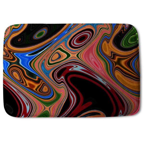 Kentland Psychedelic Marble Pattern Designer Rectangle Non-Slip Abstract Bath Rug