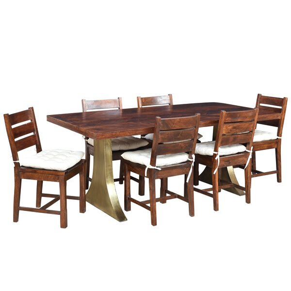 Find Valerie 7 Piece Solid Wood Dining Set By Loon Peak Spacial Price