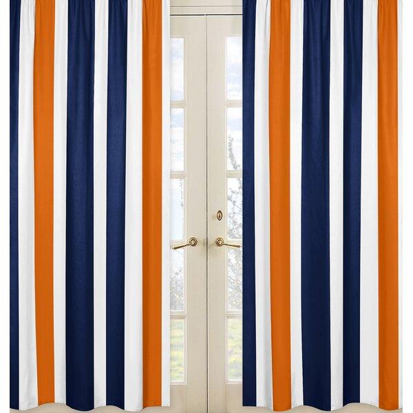 Stripe Solid Semi-Sheer Rod pocket Curtain Panels (Set of 2) by Sweet Jojo Designs