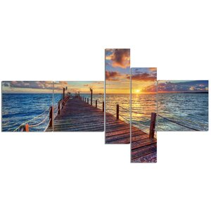 'Beautiful Sunset Over Sea Pier' Photographic Print Multi-Piece Image on Canvas by East Urban Home