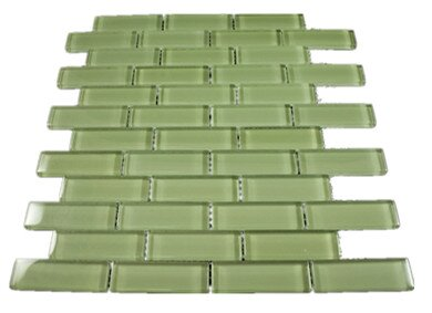 1 x 3 Glass Mosaic Tile in Green by Multile
