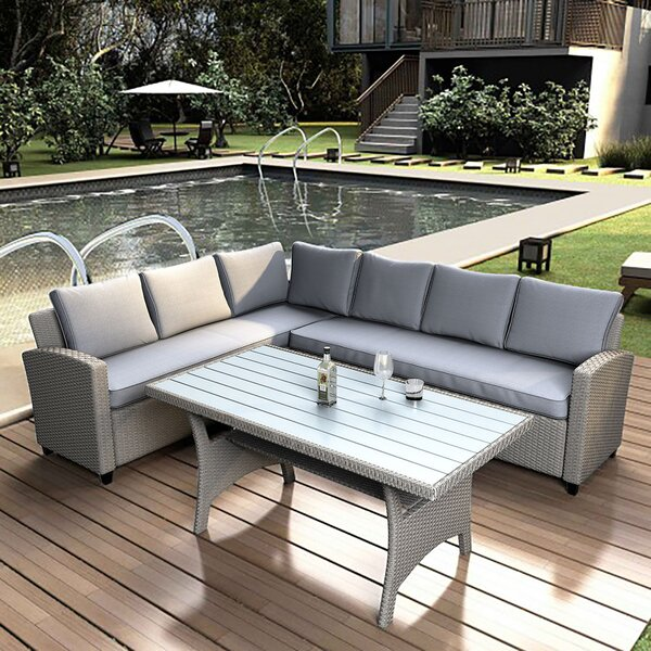 Gerlinde 3 Piece Rattan Sectional Seating Group with Cushions by Latitude Run