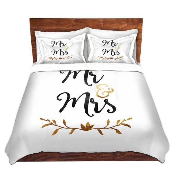 Maspeth Zara Martina Mr. And Mrs. Black Gold Microfiber Duvet Covers by Red Barrel Studio