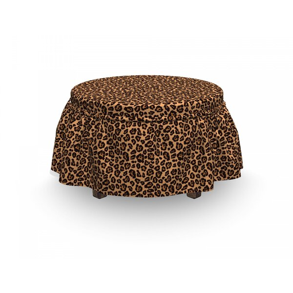 Leopard Print Exotic African 2 Piece Box Cushion Ottoman Slipcover Set By East Urban Home