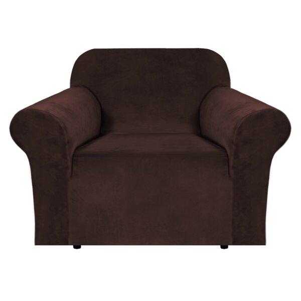 Luxurious Velvet Box Cushion Armchair Slipcover By Canora Grey
