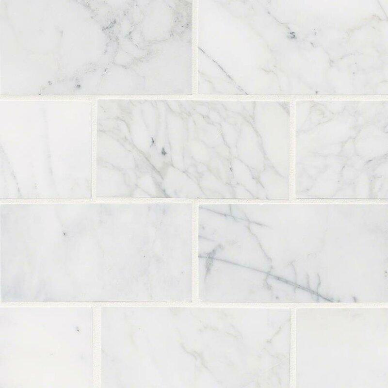 black and white tile floor texture. Calacatta Cressa Honed 3  x 6 Marble Subway Tile Mosaic You ll Love Wayfair