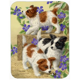Papillon Pups Glass Cutting Board By East Urban Home