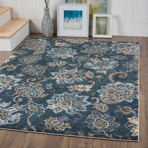 Russell Navy Blue/Brown Area Rug