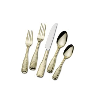Gold Plated Country Hammered Flatware 45-piece Set  sc 1 st  Wayfair & Gold Plated Dinner Set | Wayfair