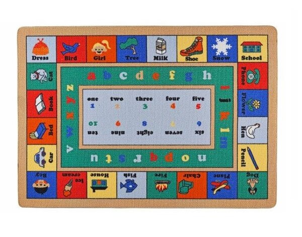 Cashel Lesson Green/Red Area Rug by Zoomie Kids