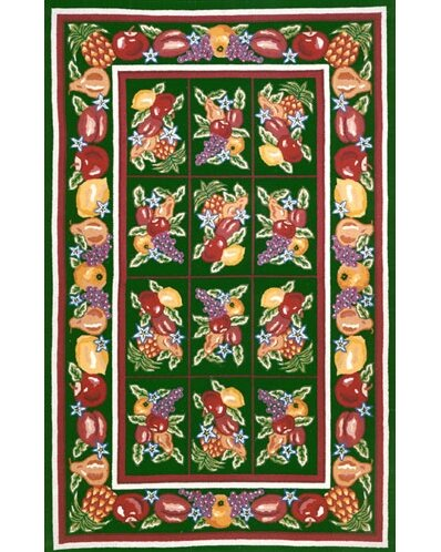 Bucks County Fruit Pettipoint Emerald Green Area Rug by American Home Rug Co.