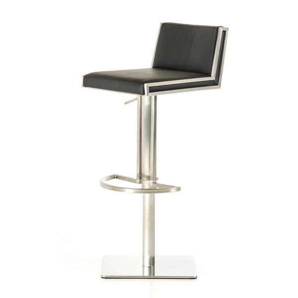 Clower Adjustable Height Upholstered Swivel Bar Stool by Orren Ellis
