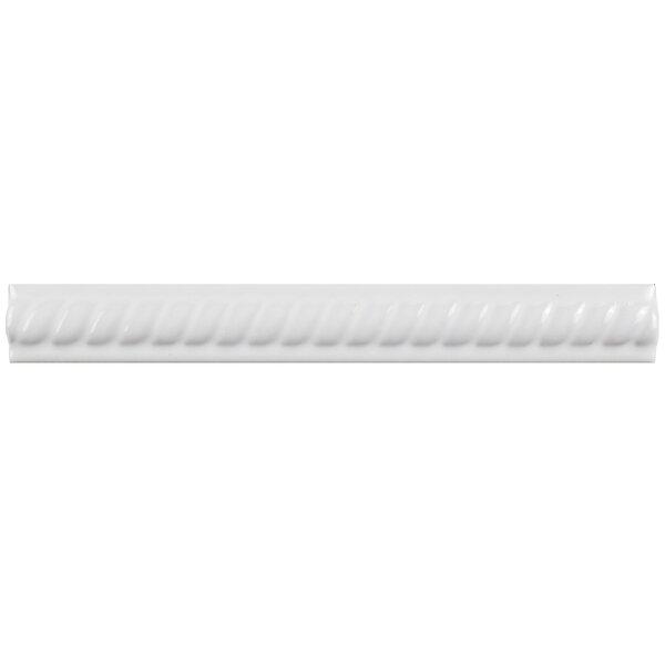 Treccia 8 X 1 Ceramic Moldura Pencil Liners Tile in Blanco (Set of 12) by EliteTile