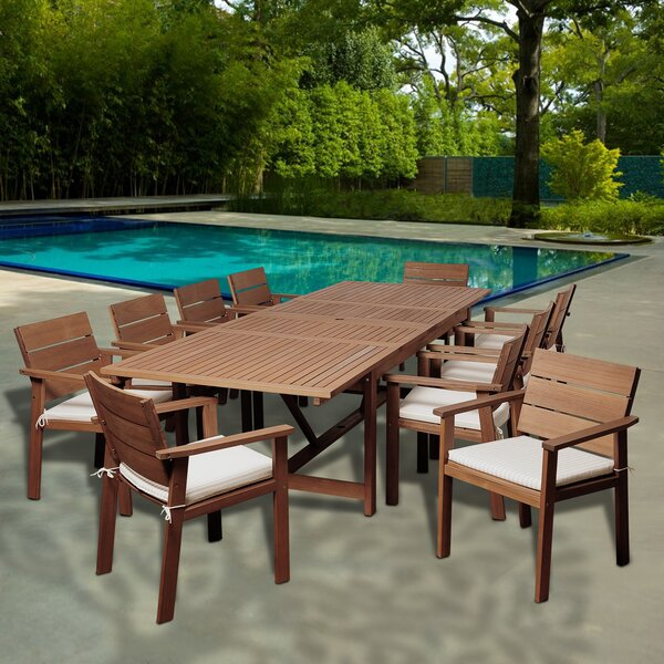 Turbeville International Home Outdoor 11 Piece Dining Set with Cushions by Highland Dunes