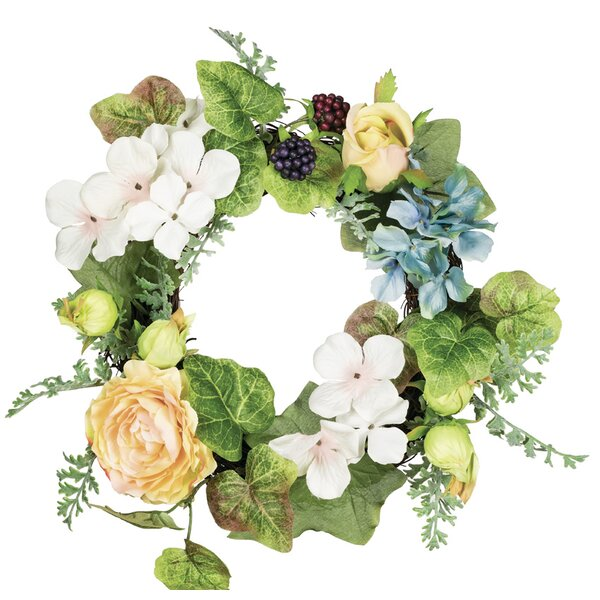 Hydrangea 14 Polyester Wreath by August Grove