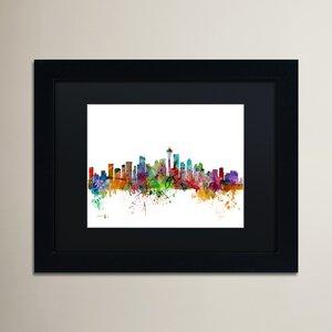 'Seattle Washington Skyline' Wood Framed Graphic Art by Ivy Bronx