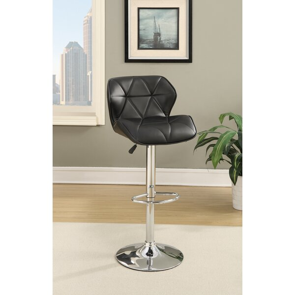 Champlost Tufted Leather Adjustable Height Bar Stool (Set of 2) by Ebern Designs