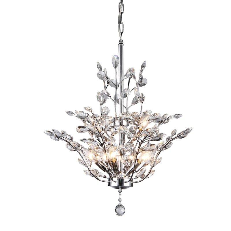 Rosdorf Park Brookleigh Leaf 9-Light Crystal Chandelier & Reviews ...