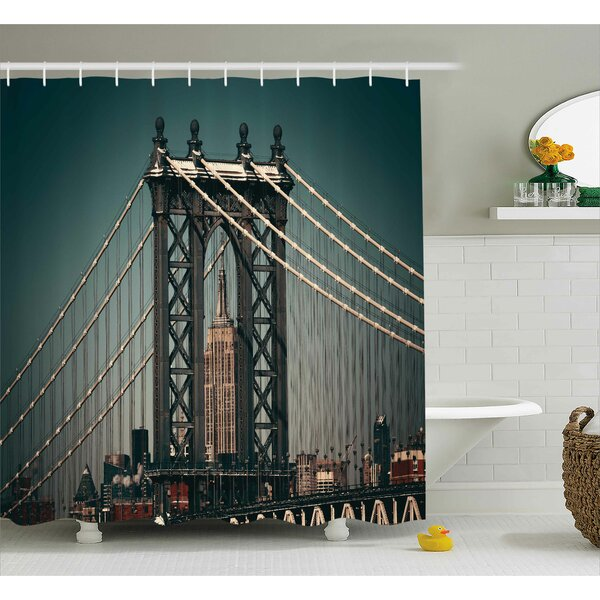 Katarina Scenery City Lights Landscape View With Bridge Empire State Building Skyscrapes Picture Shower Curtain by Williston Forge
