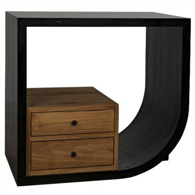 Burton Right End Table with Storage by Noir Noir