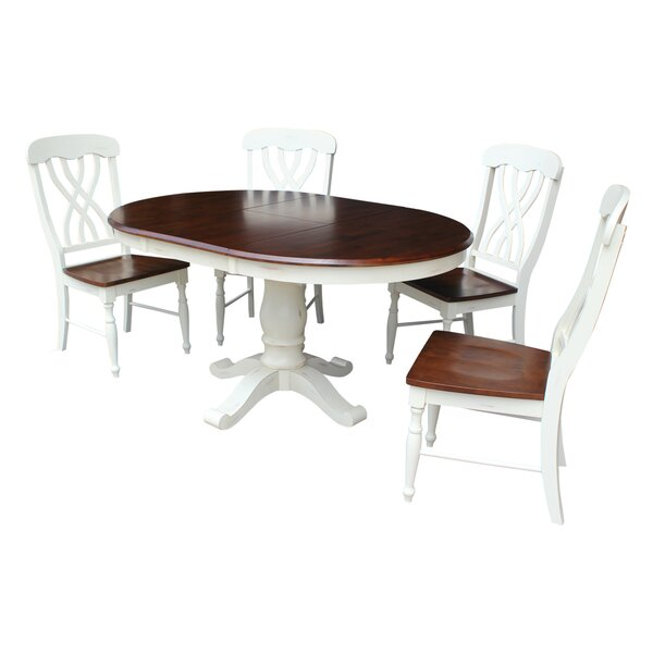 Eamon 5 Piece Extendable Solid Wood Dining Set by August Grove