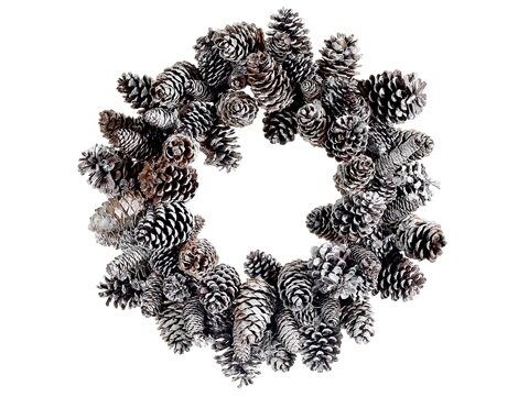 24 Artificial Iced Pine Cone Christmas Wreath by Tori Home