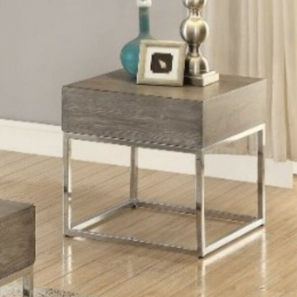 Roscoe Wooden Square Top Metal Base End Table by Ivy Bronx Ivy Bronx