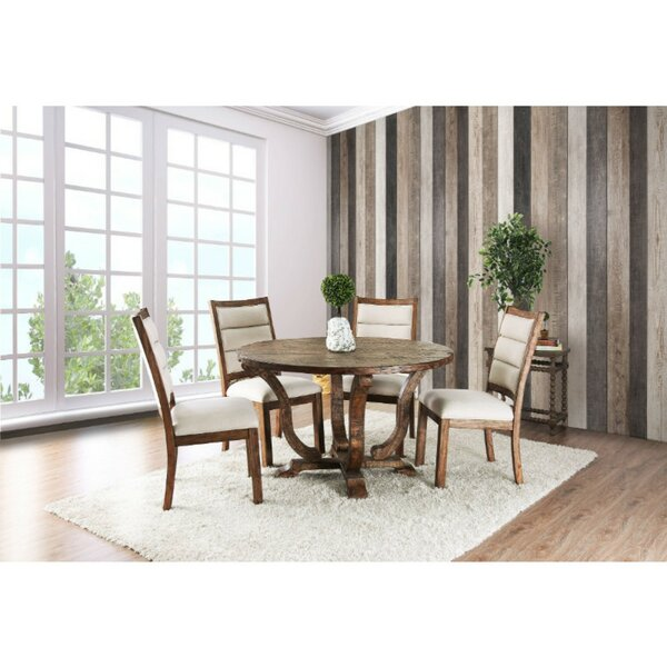 Dufresne Rustic Round 5 Piece Solid Wood Dining Set by Gracie Oaks