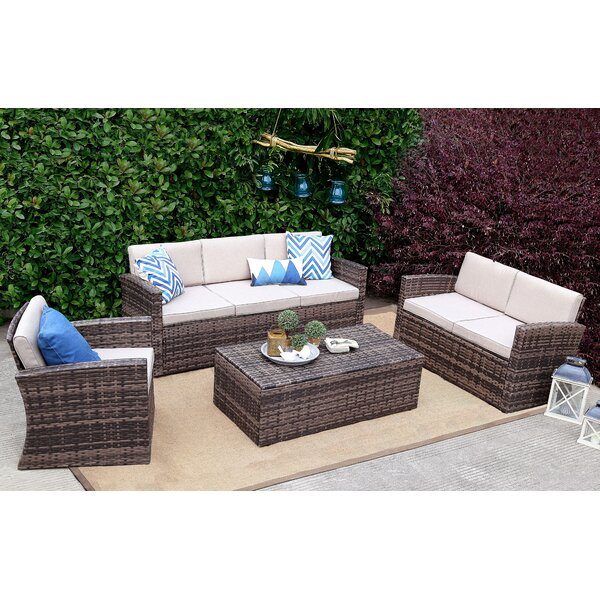 Spivey 4 Piece Rattan Sofa Seating Group with Cushions by Rosecliff Heights