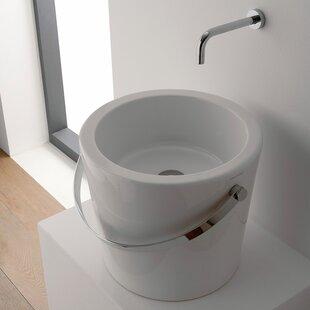 Read Reviews Bucket Ceramic Circular Vessel Bathroom Sink ByScarabeo by Nameeks