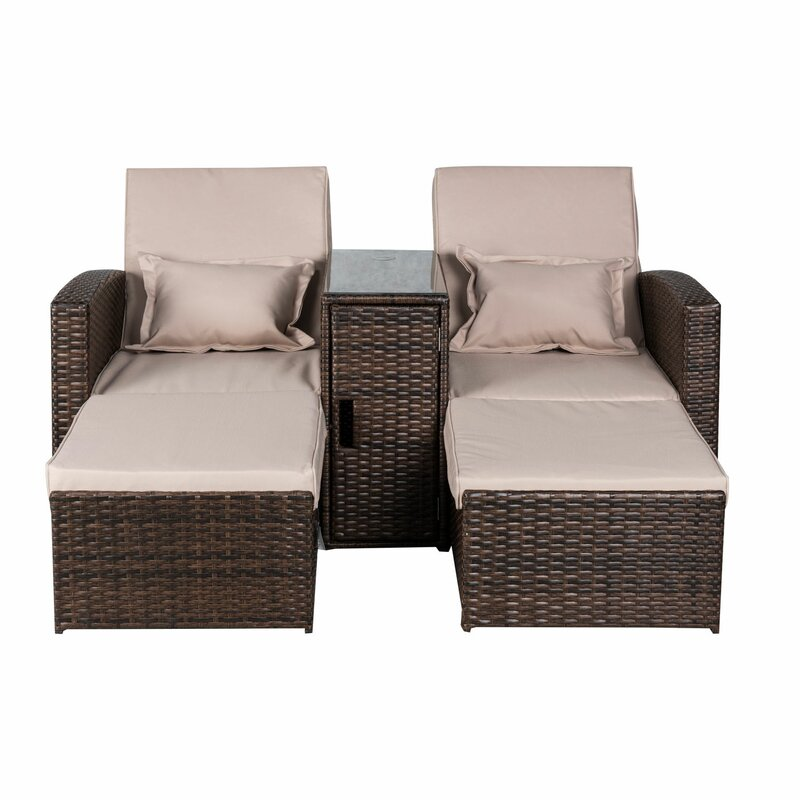 Americana 3 Piece Outdoor Rattan Wicker Chaise Lounge  sc 1 st  Wayfair.com : wicker chaise - Sectionals, Sofas & Couches