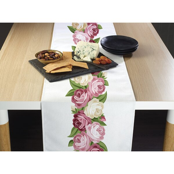 Dourado Peonies Garland Border Table Runner by August Grove