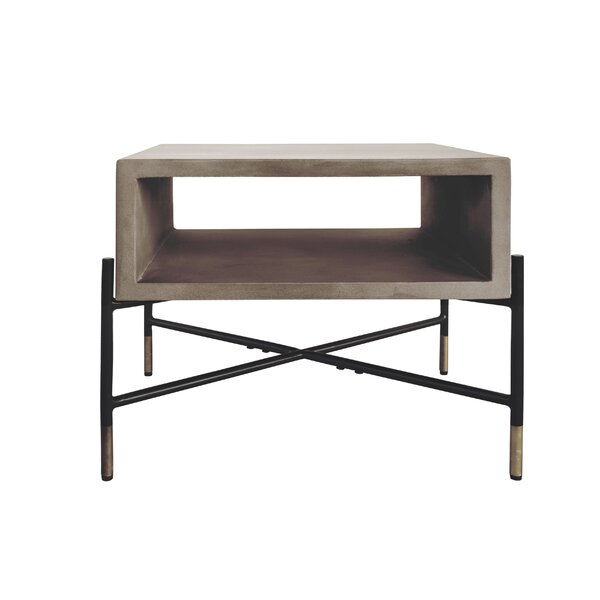 Thibeault Concrete And Metal End Table By Williston Forge