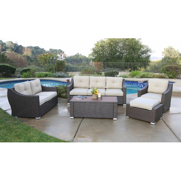 Leib Luxury 5 Piece Rattan Sofa Seating Group with Cushions by Latitude Run