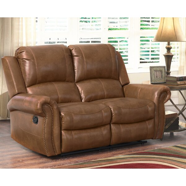 Dashing Vanhoy Leather Reclining Loveseat by Darby Home Co by Darby Home Co
