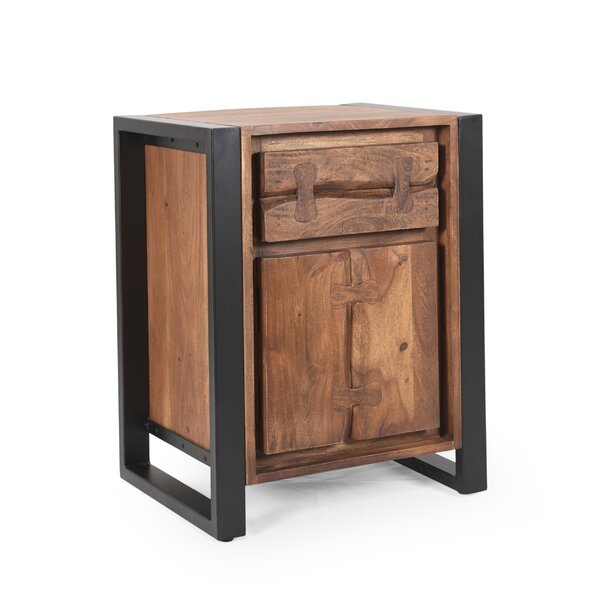 Granli Handcrafted Boho Acacia Wood 1 Door Accent Cabinet By Union Rustic