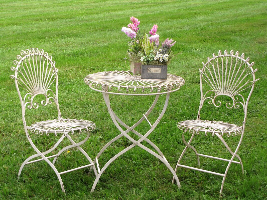 White Vintage Style 3 Piece Bistro Set. Steal this Look! Collected European Farmhouse Home Decor #bistroset #vintagestyle