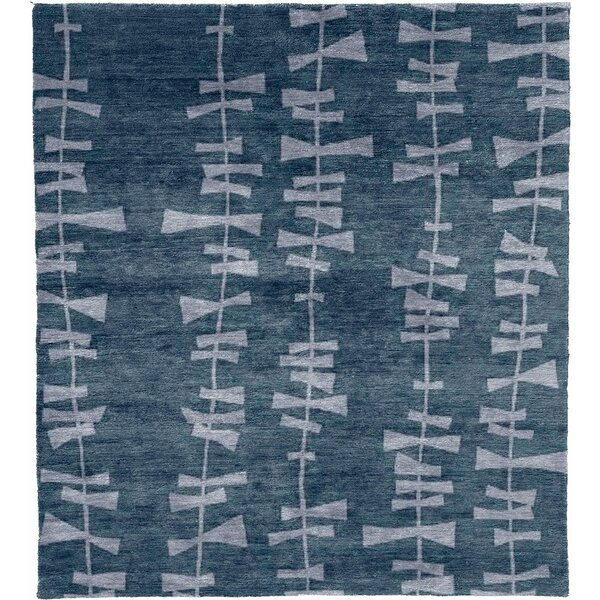 One-of-a-Kind Paull Hand-Knotted Blue 12' x 18' Wool Area Rug