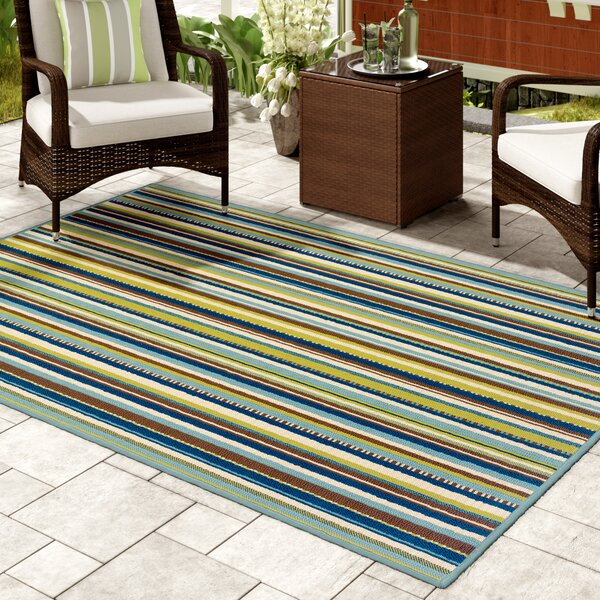 Brendel Blue/Brown Striped Indoor/Outdoor Area Rug by Andover Mills