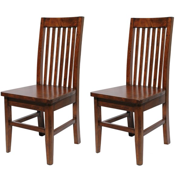 Caspian Slat Solid Wood Dining Chair (Set of 2) by Red Barrel Studio
