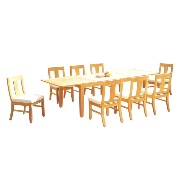 Mauldin 9 Piece Teak Dining Set by Rosecliff Heights