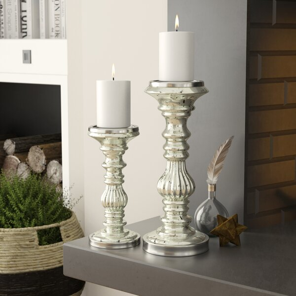 2 Piece Glass And Metal Candlestick Set By Lark Manor.