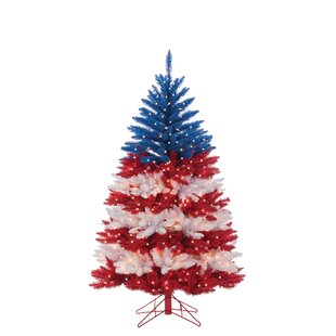 patriotic american artificial redblue christmas tree with clear white lights with stand - American Sales Christmas Decorations