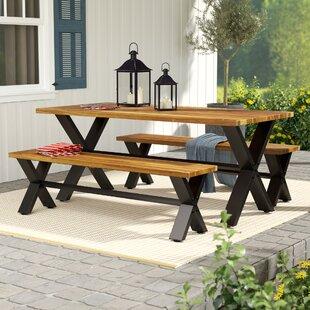 Teak patio furniture youll love wayfair petronella 3 piece teak dining set watchthetrailerfo