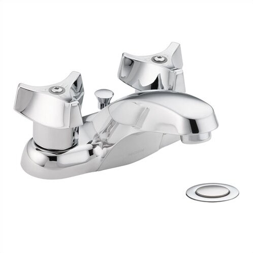 M-Bition Two Handle Centerset Bathroom Faucet with Pop Up Drain Assembly by Moen