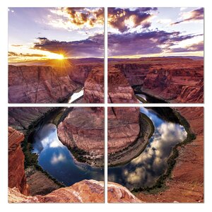 Horse Shoe Bend 4 Piece Photographic Print on Wrapped Canvas Set by Furinno