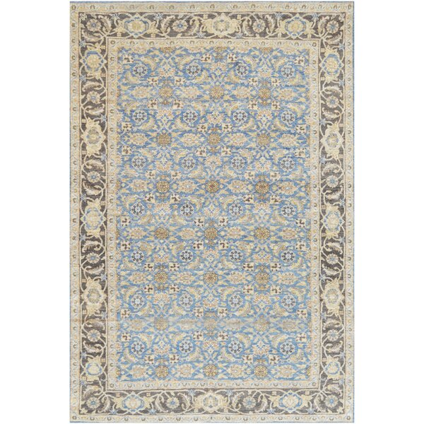 One-of-a-Kind Tabriz Extraordinary Handwoven Wool Sky Blue Indoor Area Rug by Mansour